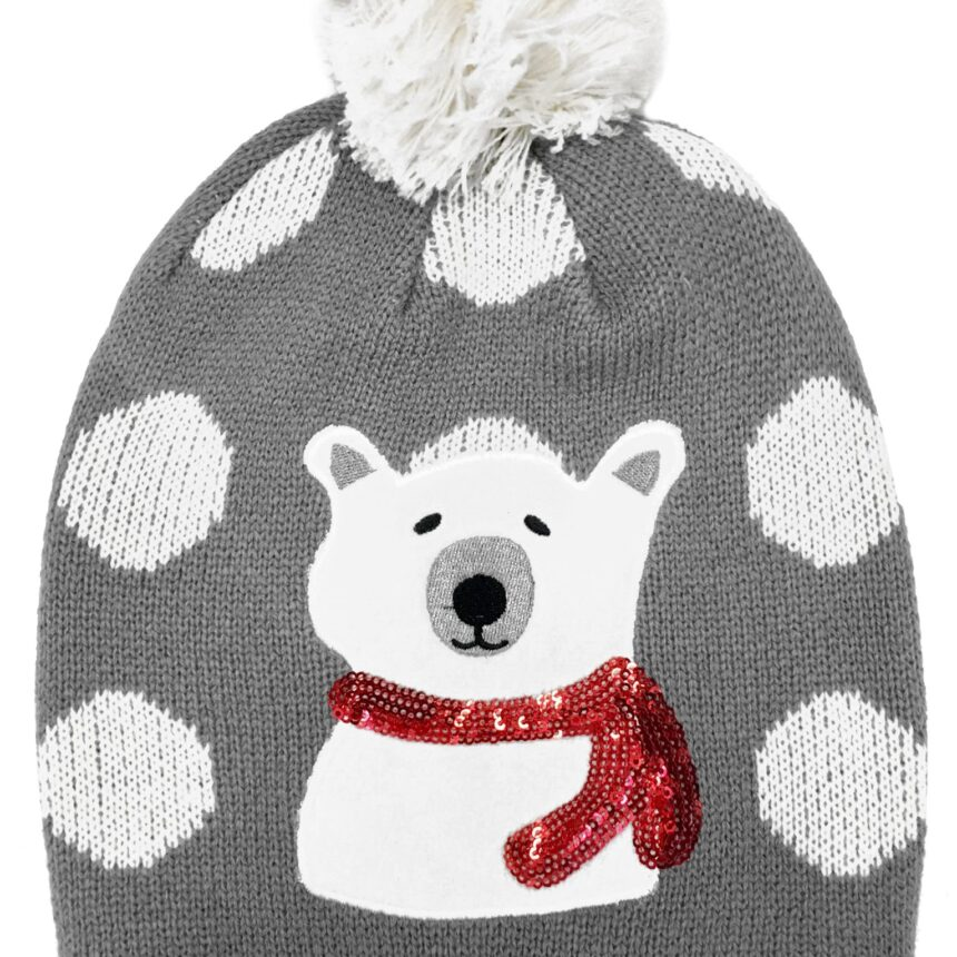 Accessory Ladies Natalia Polar Bear Bobble Hat with Spots in Grey / One Size - Tokyo Laundry