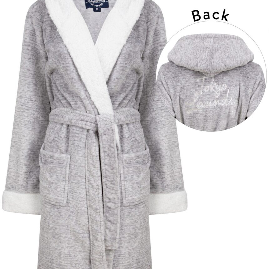 Dressing Gown Women's Godalming Soft Fleece Tie Robe Dressing Gown with Borg Lined Hood & Trims in Grey- Tokyo Laundry / S - Tokyo Laundry
